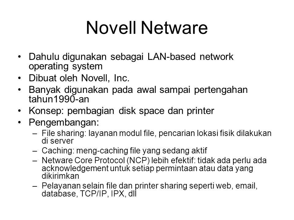Novell Netware Dahulu digunakan sebagai LAN-based network operating system Dibuat oleh Novell, Inc.