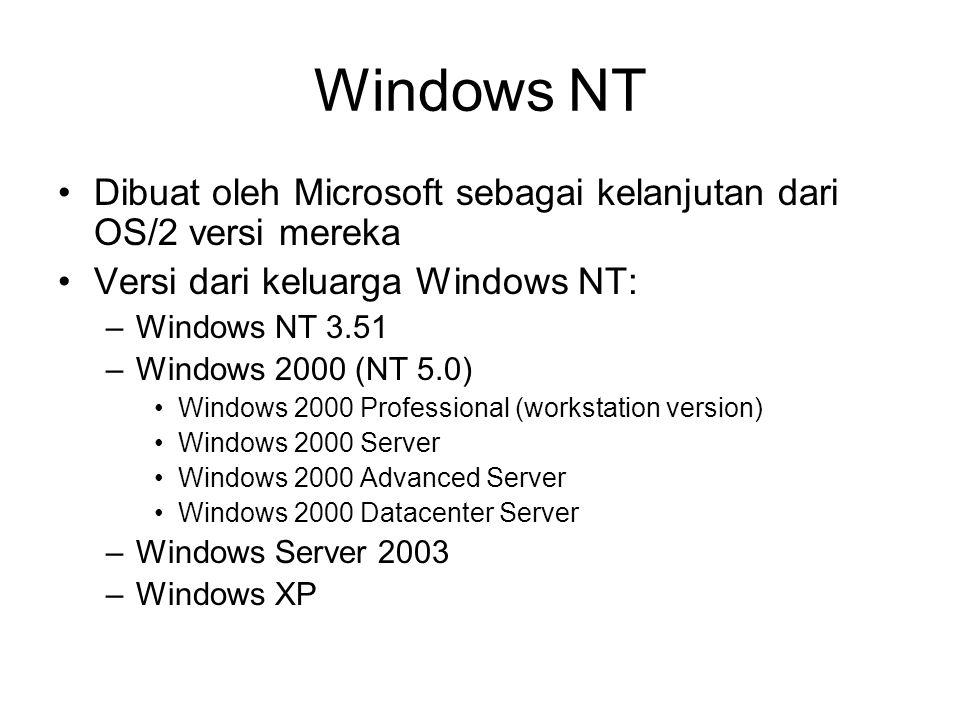 Windows NT Dibuat oleh Microsoft sebagai kelanjutan dari OS/2 versi mereka Versi dari keluarga Windows NT: –Windows NT 3.51 –Windows 2000 (NT 5.0) Windows 2000 Professional (workstation version) Windows 2000 Server Windows 2000 Advanced Server Windows 2000 Datacenter Server –Windows Server 2003 –Windows XP