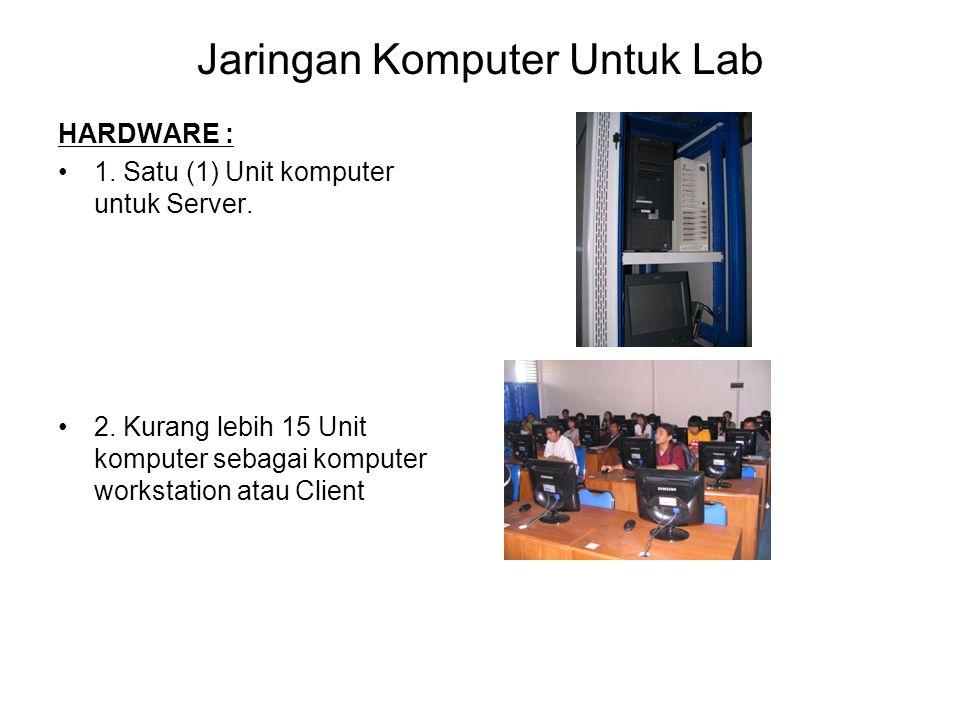 Jaringan Komputer Untuk Lab HARDWARE : 1. Satu (1) Unit komputer untuk Server. 2. Kurang lebih 15 Unit komputer sebagai komputer workstation atau Clie