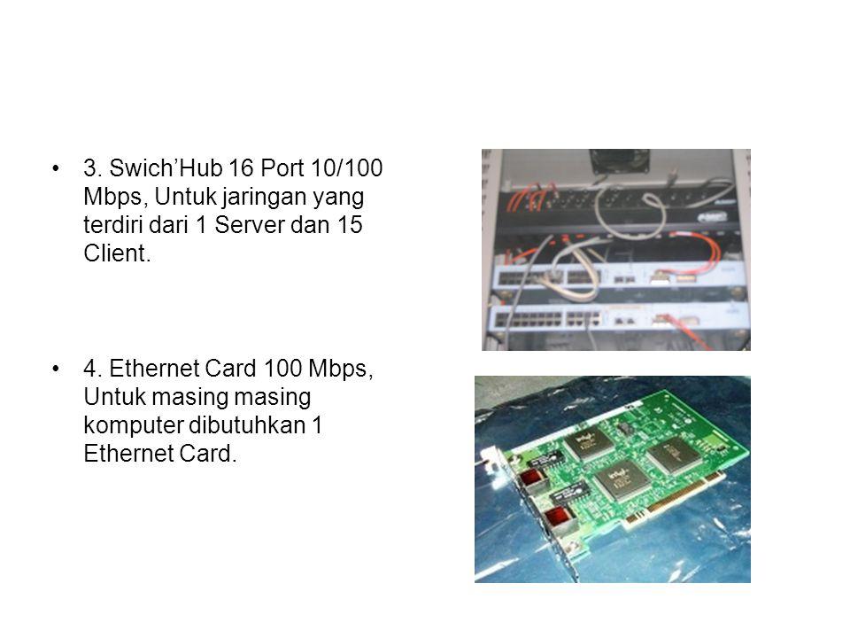 3. Swich'Hub 16 Port 10/100 Mbps, Untuk jaringan yang terdiri dari 1 Server dan 15 Client. 4. Ethernet Card 100 Mbps, Untuk masing masing komputer dib