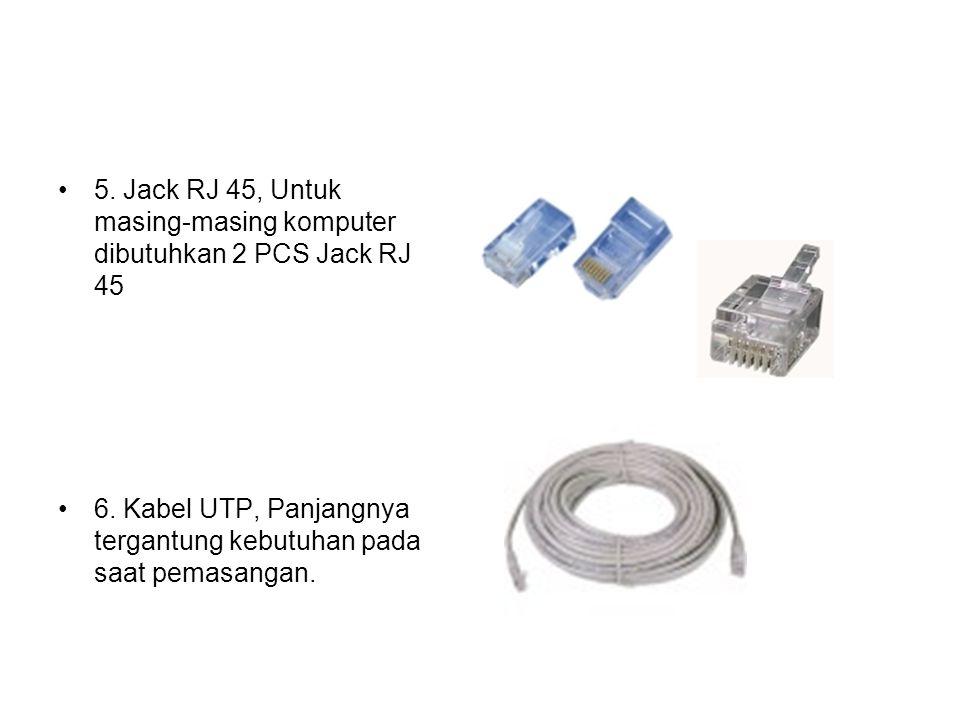 5. Jack RJ 45, Untuk masing-masing komputer dibutuhkan 2 PCS Jack RJ 45 6. Kabel UTP, Panjangnya tergantung kebutuhan pada saat pemasangan.