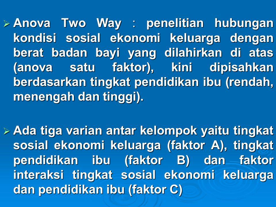  Anova Two Way : penelitian hubungan kondisi sosial ekonomi keluarga dengan berat badan bayi yang dilahirkan di atas (anova satu faktor), kini dipisa