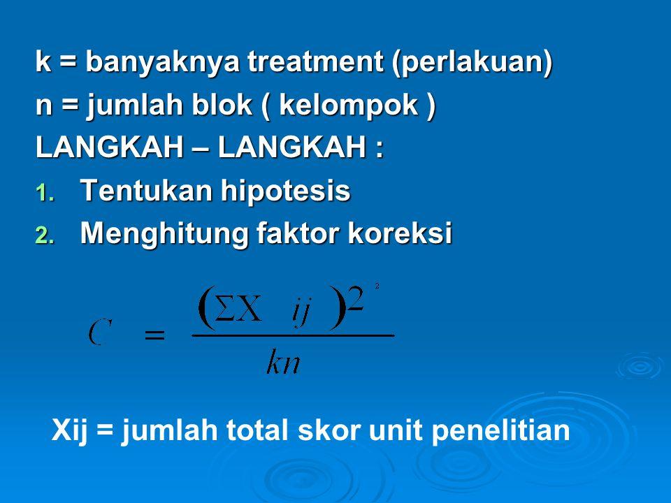 k = banyaknya treatment (perlakuan) n = jumlah blok ( kelompok ) LANGKAH – LANGKAH : 1.