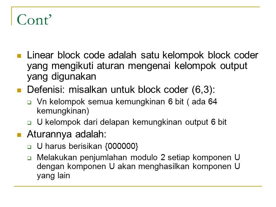 Cont' Linear block code adalah satu kelompok block coder yang mengikuti aturan mengenai kelompok output yang digunakan Defenisi: misalkan untuk block