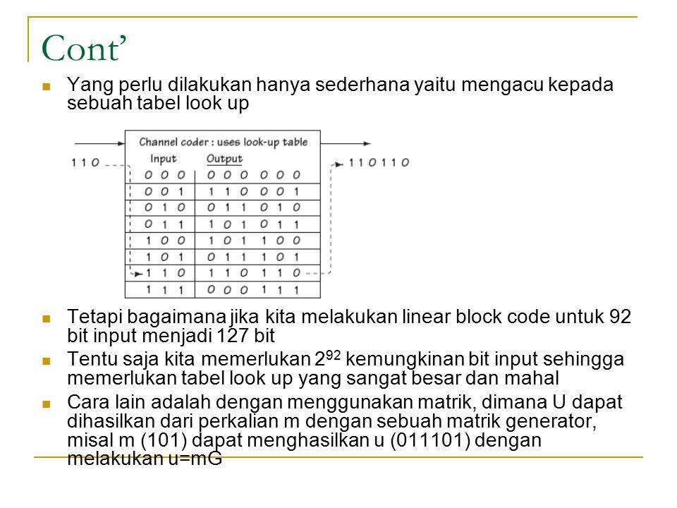 Cont' Yang perlu dilakukan hanya sederhana yaitu mengacu kepada sebuah tabel look up Tetapi bagaimana jika kita melakukan linear block code untuk 92 b