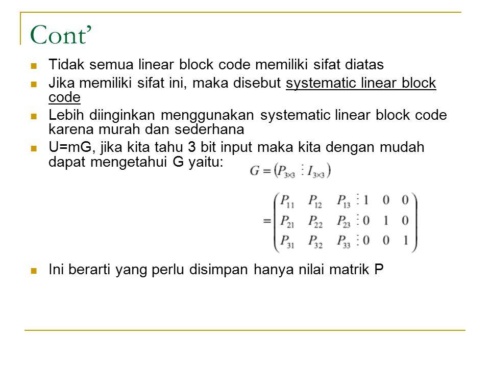 Cont' Tidak semua linear block code memiliki sifat diatas Jika memiliki sifat ini, maka disebut systematic linear block code Lebih diinginkan mengguna