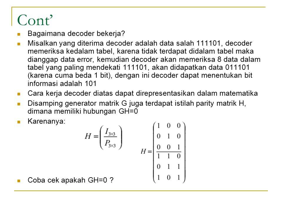 Cont' Bagaimana decoder bekerja? Misalkan yang diterima decoder adalah data salah 111101, decoder memeriksa kedalam tabel, karena tidak terdapat didal