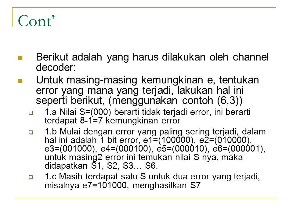 Cont' Berikut adalah yang harus dilakukan oleh channel decoder: Untuk masing-masing kemungkinan e, tentukan error yang mana yang terjadi, lakukan hal