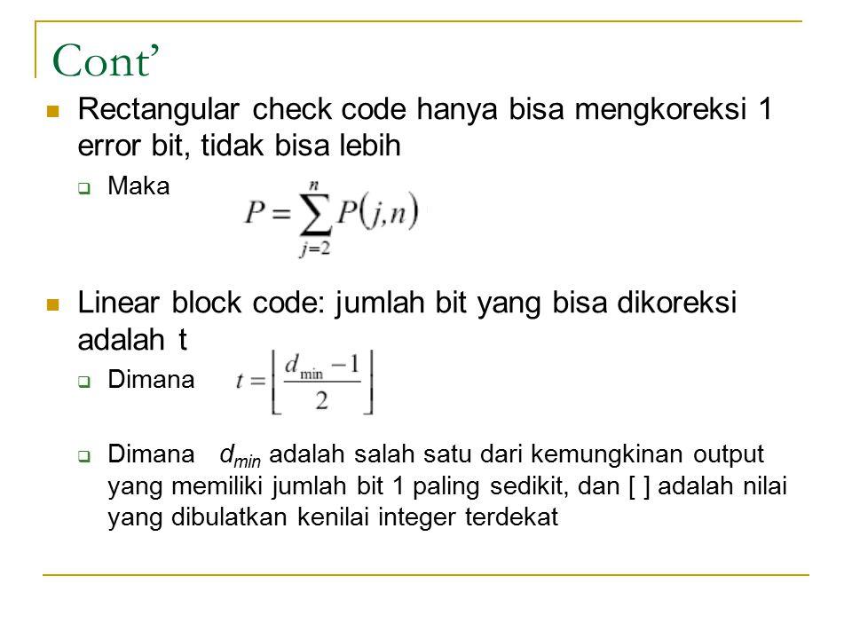 Cont' Rectangular check code hanya bisa mengkoreksi 1 error bit, tidak bisa lebih  Maka Linear block code: jumlah bit yang bisa dikoreksi adalah t 