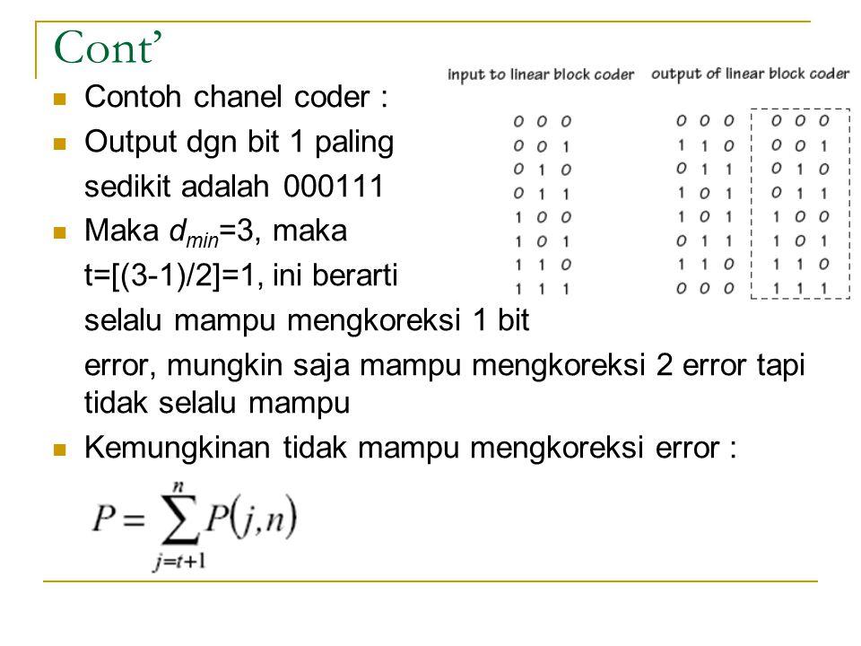 Cont' Contoh chanel coder : Output dgn bit 1 paling sedikit adalah 000111 Maka d min =3, maka t=[(3-1)/2]=1, ini berarti selalu mampu mengkoreksi 1 bi