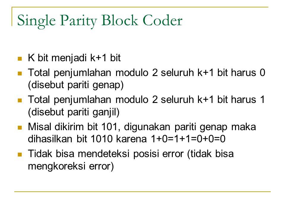 Single Parity Block Coder K bit menjadi k+1 bit Total penjumlahan modulo 2 seluruh k+1 bit harus 0 (disebut pariti genap) Total penjumlahan modulo 2 s