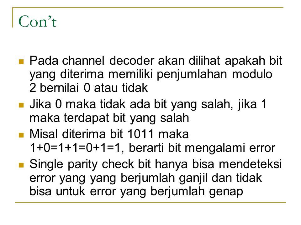 Con't Pada channel decoder akan dilihat apakah bit yang diterima memiliki penjumlahan modulo 2 bernilai 0 atau tidak Jika 0 maka tidak ada bit yang sa