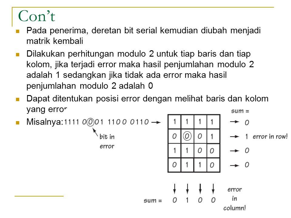 Con't Pada penerima, deretan bit serial kemudian diubah menjadi matrik kembali Dilakukan perhitungan modulo 2 untuk tiap baris dan tiap kolom, jika te