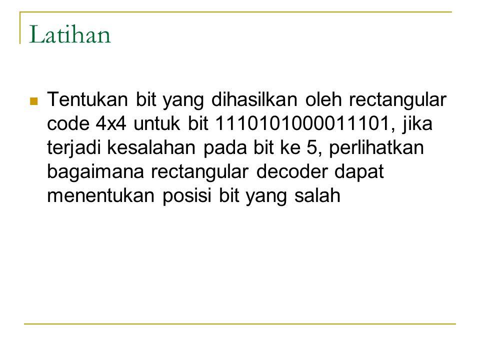 Latihan Tentukan bit yang dihasilkan oleh rectangular code 4x4 untuk bit 1110101000011101, jika terjadi kesalahan pada bit ke 5, perlihatkan bagaimana