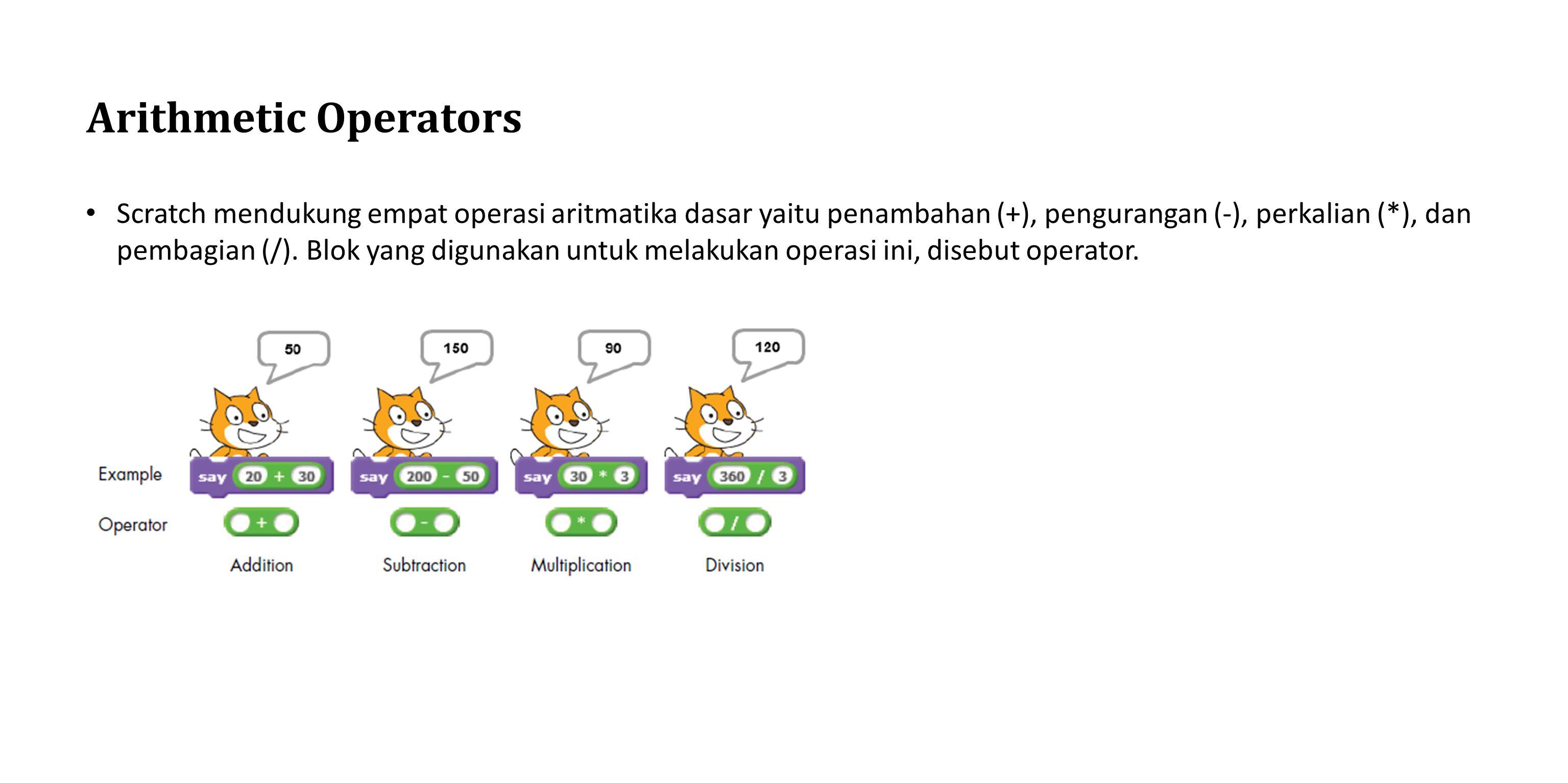 Arithmetic Operators Scratch mendukung empat operasi aritmatika dasar yaitu penambahan (+), pengurangan (-), perkalian (*), dan pembagian (/). Blok ya