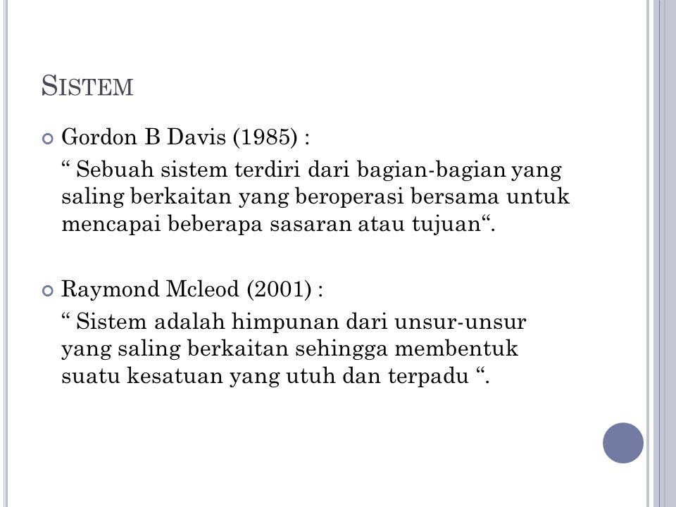 """S ISTEM Gordon B Davis (1985) : """" Sebuah sistem terdiri dari bagian-bagian yang saling berkaitan yang beroperasi bersama untuk mencapai beberapa sasar"""