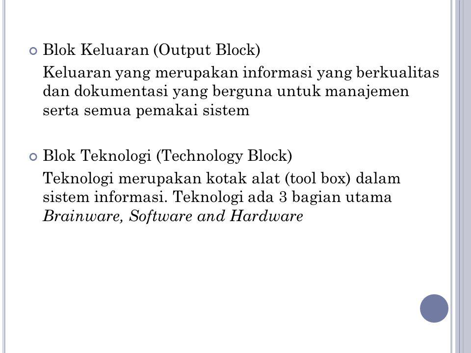 Blok Keluaran (Output Block) Keluaran yang merupakan informasi yang berkualitas dan dokumentasi yang berguna untuk manajemen serta semua pemakai sistem Blok Teknologi (Technology Block) Teknologi merupakan kotak alat (tool box) dalam sistem informasi.