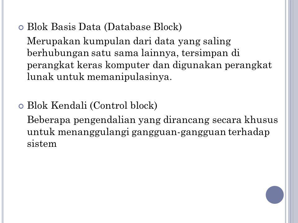 Blok Basis Data (Database Block) Merupakan kumpulan dari data yang saling berhubungan satu sama lainnya, tersimpan di perangkat keras komputer dan digunakan perangkat lunak untuk memanipulasinya.