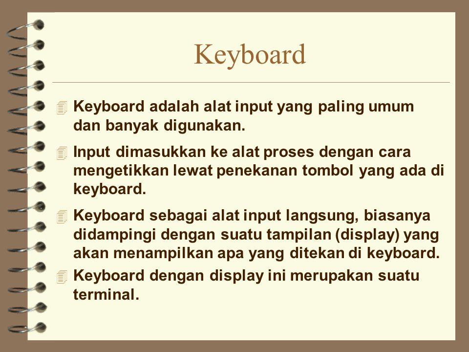 Keyboard 4 Keyboard adalah alat input yang paling umum dan banyak digunakan. 4 Input dimasukkan ke alat proses dengan cara mengetikkan lewat penekanan
