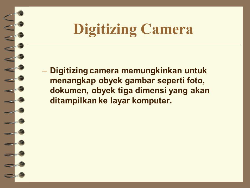 Digitizing Camera –Digitizing camera memungkinkan untuk menangkap obyek gambar seperti foto, dokumen, obyek tiga dimensi yang akan ditampilkan ke laya