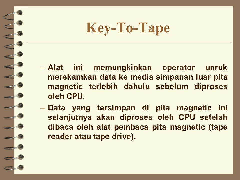 Key-To-Tape –Alat ini memungkinkan operator unruk merekamkan data ke media simpanan luar pita magnetic terlebih dahulu sebelum diproses oleh CPU. –Dat