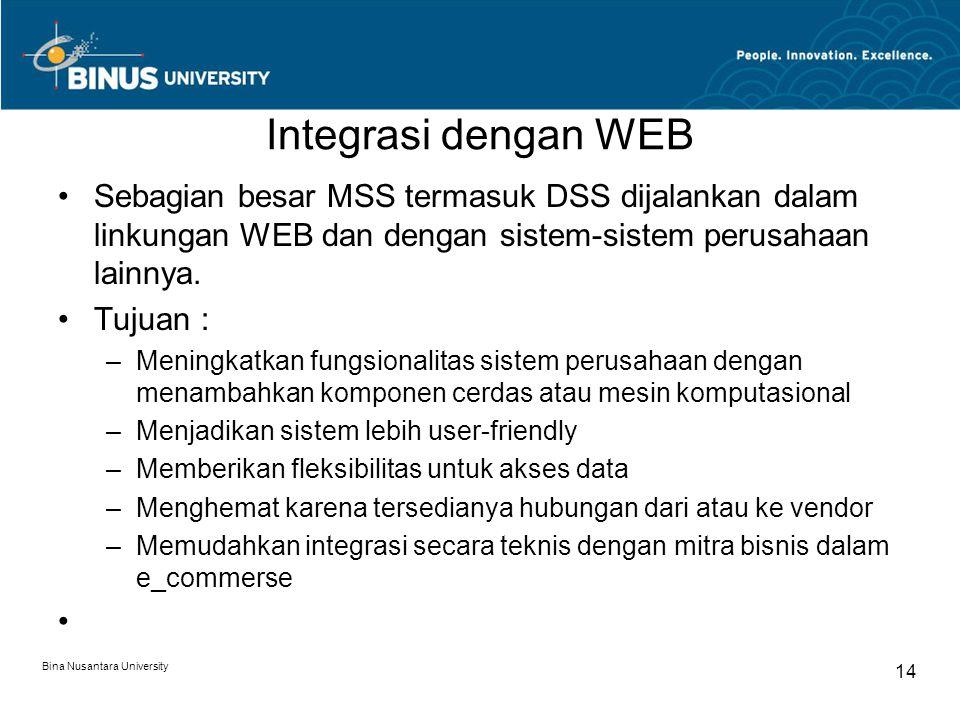 Bina Nusantara University 14 Integrasi dengan WEB Sebagian besar MSS termasuk DSS dijalankan dalam linkungan WEB dan dengan sistem-sistem perusahaan lainnya.