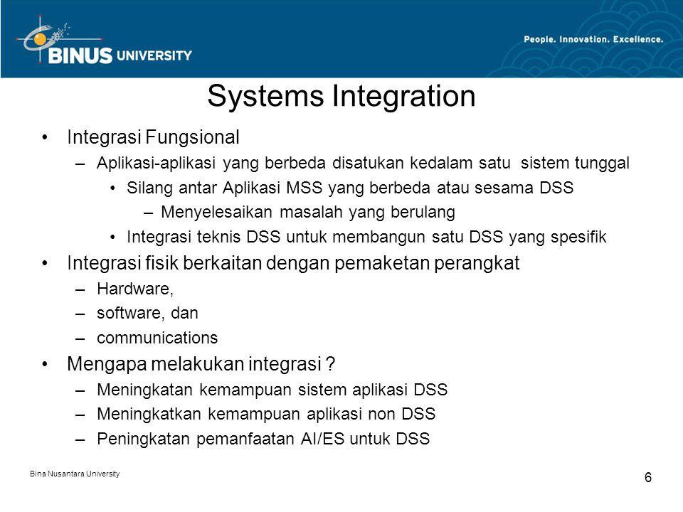 Bina Nusantara University 6 Systems Integration Integrasi Fungsional –Aplikasi-aplikasi yang berbeda disatukan kedalam satu sistem tunggal Silang antar Aplikasi MSS yang berbeda atau sesama DSS –Menyelesaikan masalah yang berulang Integrasi teknis DSS untuk membangun satu DSS yang spesifik Integrasi fisik berkaitan dengan pemaketan perangkat –Hardware, –software, dan –communications Mengapa melakukan integrasi .