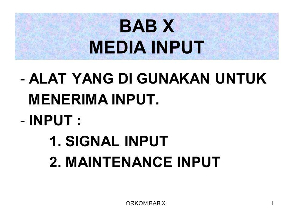 ORKOM BAB X1 BAB X MEDIA INPUT - ALAT YANG DI GUNAKAN UNTUK MENERIMA INPUT. - INPUT : 1. SIGNAL INPUT 2. MAINTENANCE INPUT