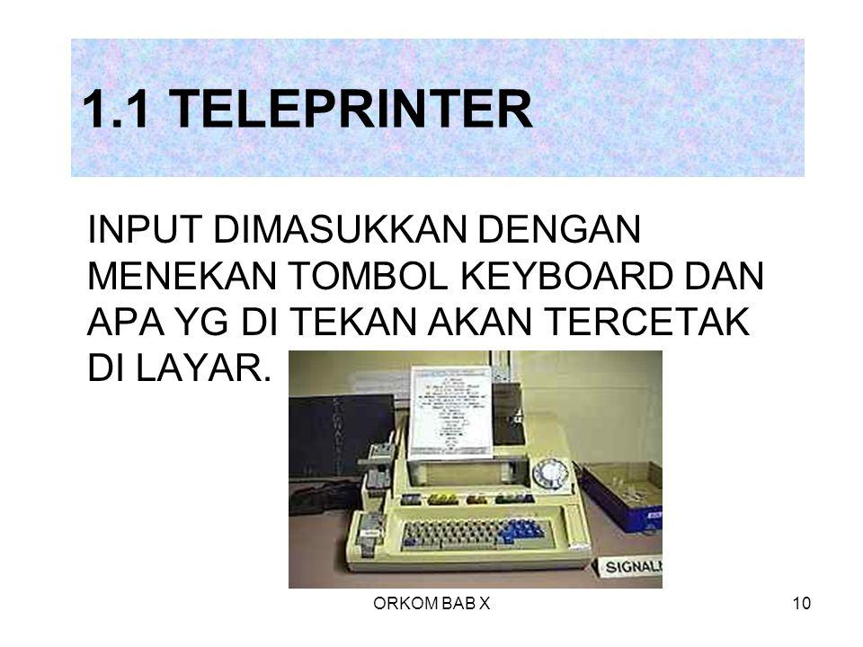 ORKOM BAB X10 1.1 TELEPRINTER INPUT DIMASUKKAN DENGAN MENEKAN TOMBOL KEYBOARD DAN APA YG DI TEKAN AKAN TERCETAK DI LAYAR.