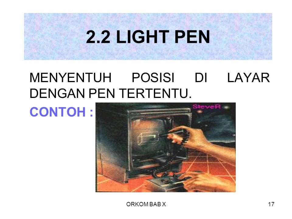 ORKOM BAB X17 2.2 LIGHT PEN MENYENTUH POSISI DI LAYAR DENGAN PEN TERTENTU. CONTOH :