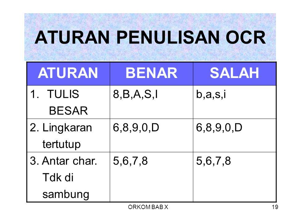ORKOM BAB X19 ATURAN PENULISAN OCR ATURANBENARSALAH 1.TULIS BESAR 8,B,A,S,Ib,a,s,i 2. Lingkaran tertutup 6,8,9,0,D 3. Antar char. Tdk di sambung 5,6,7