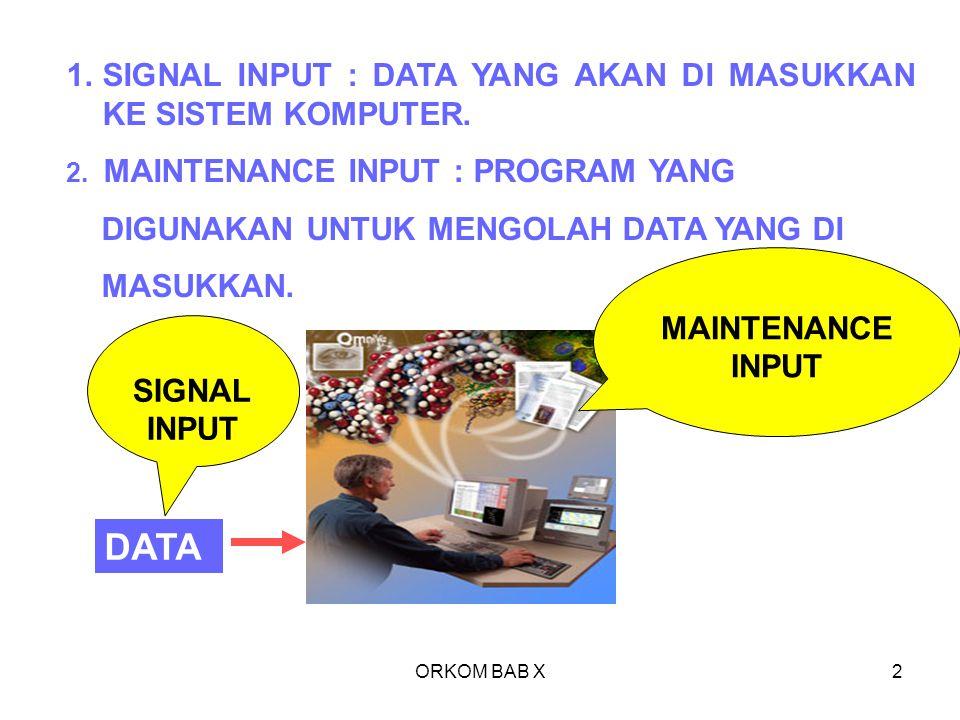 ORKOM BAB X2 1.SIGNAL INPUT : DATA YANG AKAN DI MASUKKAN KE SISTEM KOMPUTER. 2. MAINTENANCE INPUT : PROGRAM YANG DIGUNAKAN UNTUK MENGOLAH DATA YANG DI