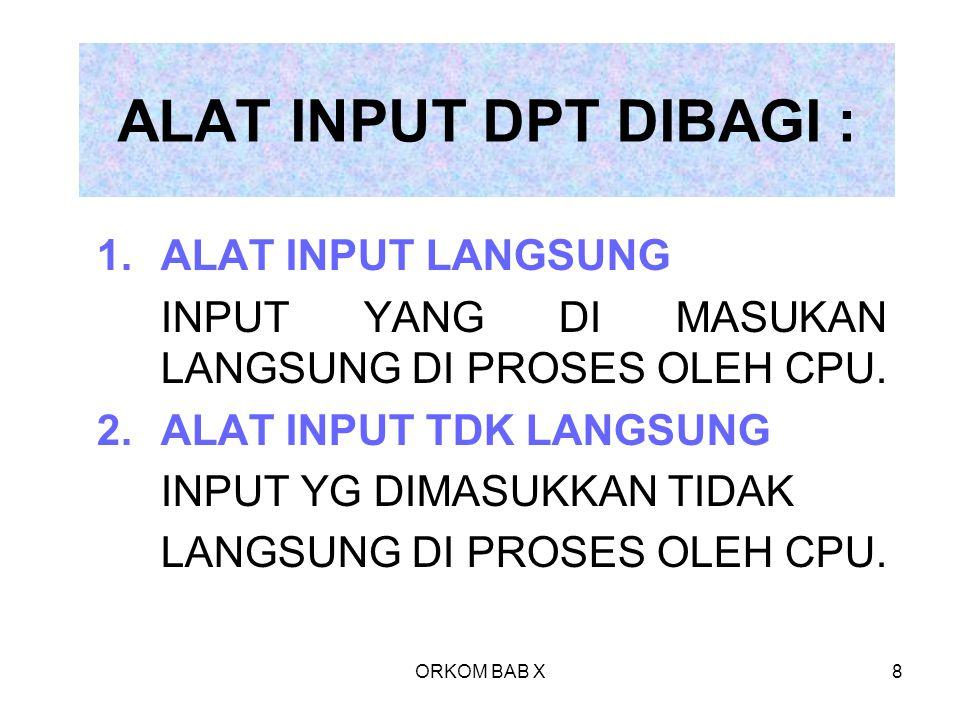 ORKOM BAB X8 ALAT INPUT DPT DIBAGI : 1.ALAT INPUT LANGSUNG INPUT YANG DI MASUKAN LANGSUNG DI PROSES OLEH CPU. 2.ALAT INPUT TDK LANGSUNG INPUT YG DIMAS