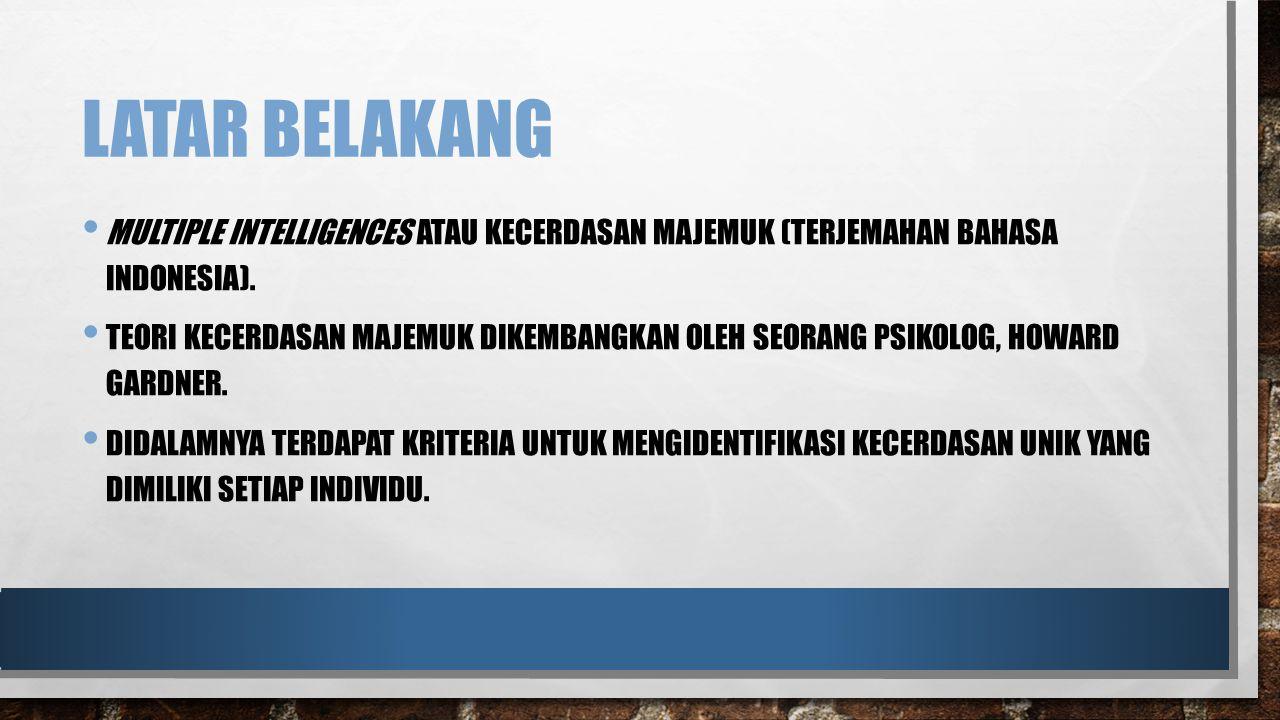 LATAR BELAKANG MULTIPLE INTELLIGENCES ATAU KECERDASAN MAJEMUK (TERJEMAHAN BAHASA INDONESIA). TEORI KECERDASAN MAJEMUK DIKEMBANGKAN OLEH SEORANG PSIKOL