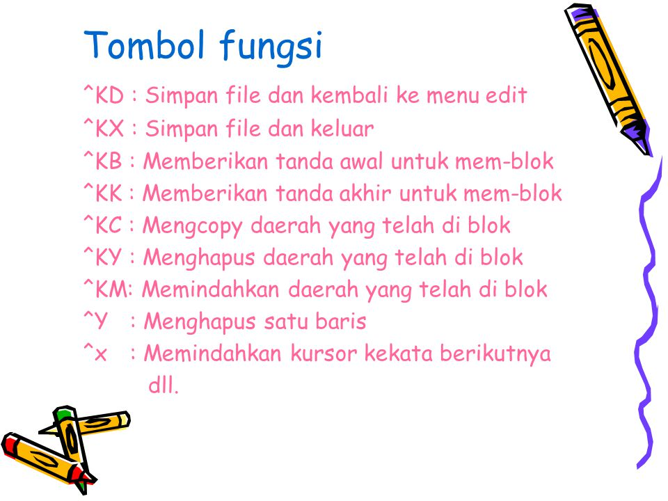 Tombol fungsi ^KD : Simpan file dan kembali ke menu edit ^KX : Simpan file dan keluar ^KB : Memberikan tanda awal untuk mem-blok ^KK : Memberikan tand
