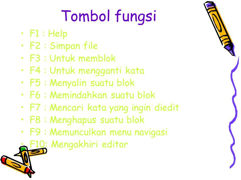 Tombol fungsi F1 : Help F2 : Simpan file F3 : Untuk memblok F4 : Untuk mengganti kata F5 : Menyalin suatu blok F6 : Memindahkan suatu blok F7 : Mencari kata yang ingin diedit F8 : Menghapus suatu blok F9 : Memunculkan menu navigasi F10: Mengakhiri editor