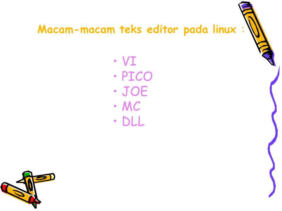 VI (Visual Editor) Memulai dan mengakhiri VI Vi (nama file) ESC kemudian Q Untuk memulai yang Di edit/ baru Untuk mengakhiri Vi