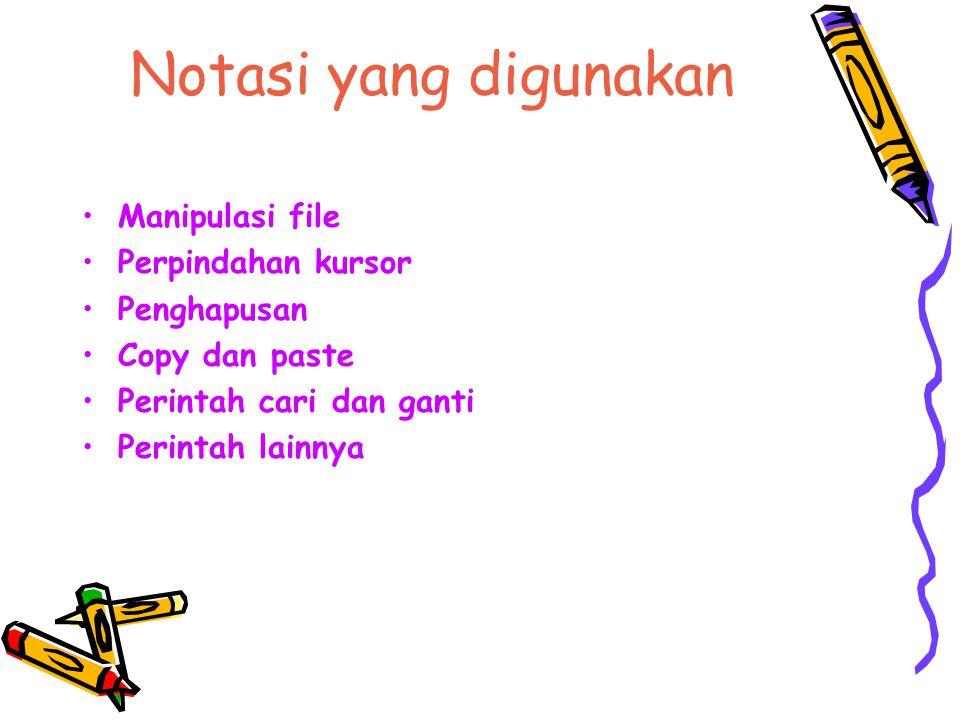 Notasi yang digunakan Manipulasi file Perpindahan kursor Penghapusan Copy dan paste Perintah cari dan ganti Perintah lainnya