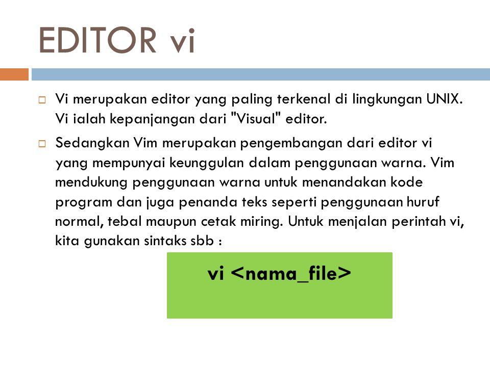 EDITOR vi  Vi merupakan editor yang paling terkenal di lingkungan UNIX. Vi ialah kepanjangan dari