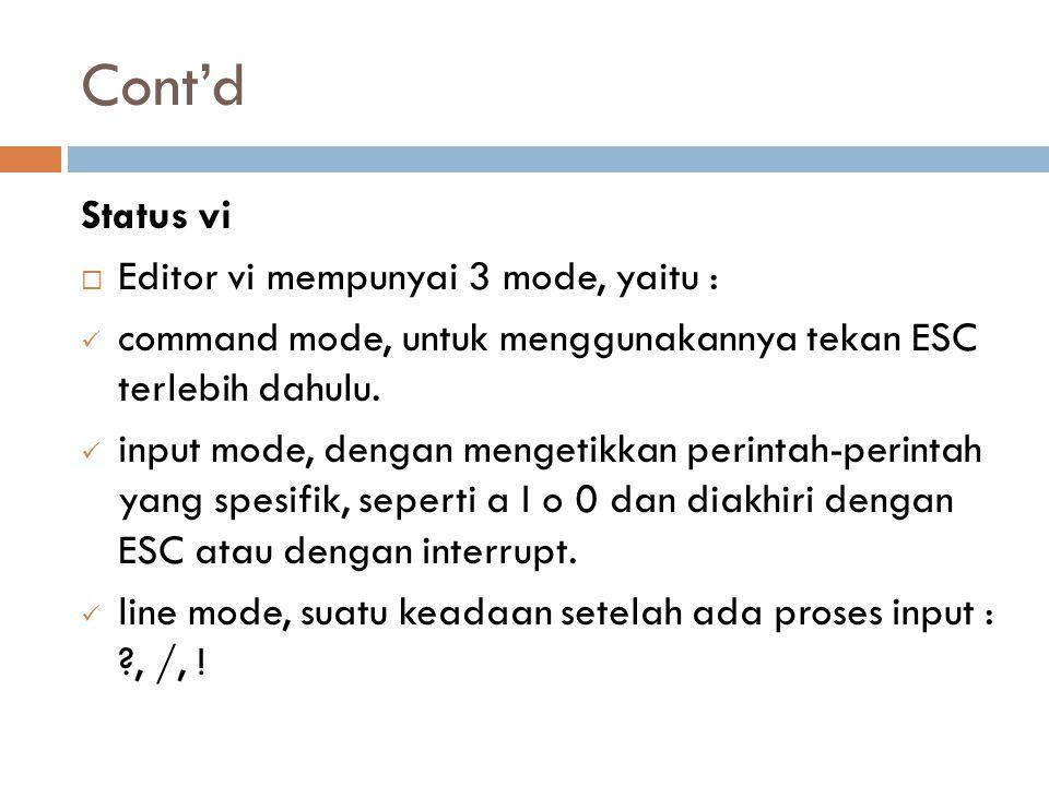 Cont'd Status vi  Editor vi mempunyai 3 mode, yaitu : command mode, untuk menggunakannya tekan ESC terlebih dahulu. input mode, dengan mengetikkan pe