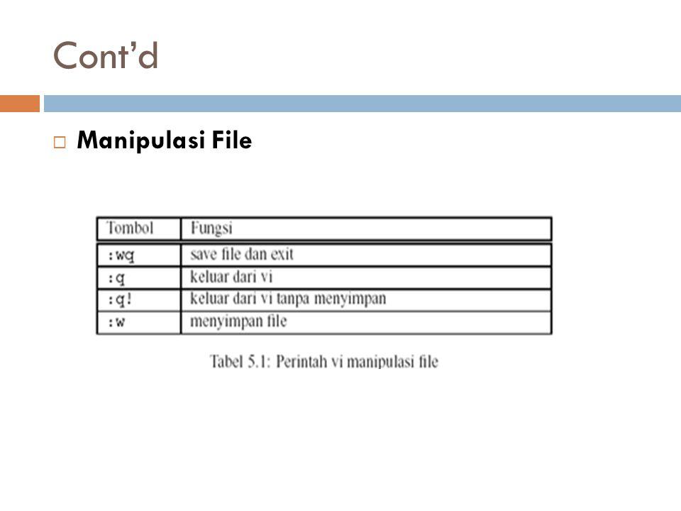 Cont'd  Manipulasi File