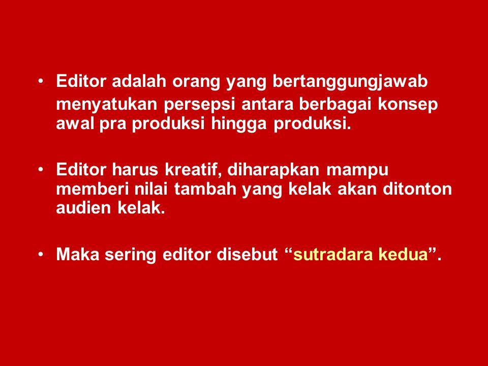 Editor adalah orang yang bertanggungjawab menyatukan persepsi antara berbagai konsep awal pra produksi hingga produksi. Editor harus kreatif, diharapk