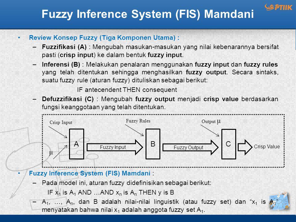 Fuzzy Inference System (FIS) Mamdani Review Konsep Fuzzy (Tiga Komponen Utama) : –Fuzzifikasi (A) : Mengubah masukan-masukan yang nilai kebenarannya bersifat pasti (crisp input) ke dalam bentuk fuzzy input.