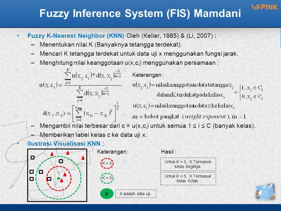 Fuzzy Inference System (FIS) Mamdani Fuzzy K-Nearest Neighbor (KNN) Oleh (Keller, 1985) & (Li, 2007) : –Menentukan nilai K (Banyaknya tetangga terdeka