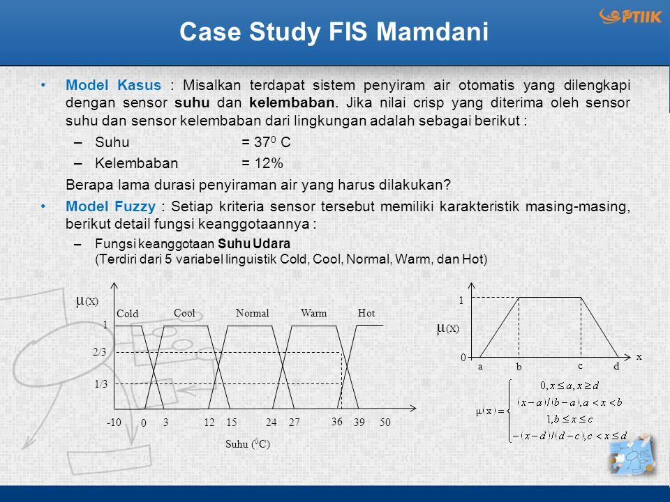 HotWarmNormal Case Study FIS Mamdani Model Kasus : Misalkan terdapat sistem penyiram air otomatis yang dilengkapi dengan sensor suhu dan kelembaban.
