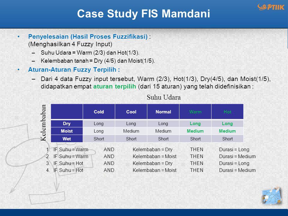Case Study FIS Mamdani Penyelesaian (Hasil Proses Fuzzifikasi) : (Menghasilkan 4 Fuzzy Input) –Suhu Udara = Warm (2/3) dan Hot(1/3). –Kelembaban tanah
