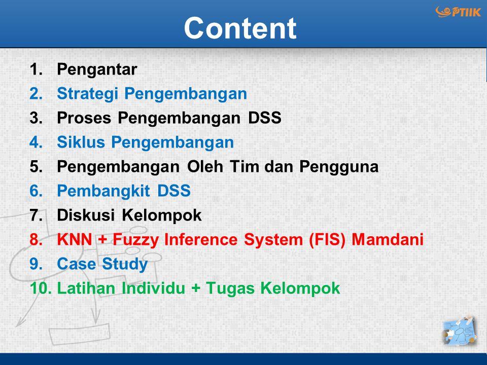 Content 1.Pengantar 2.Strategi Pengembangan 3.Proses Pengembangan DSS 4.Siklus Pengembangan 5.Pengembangan Oleh Tim dan Pengguna 6.Pembangkit DSS 7.Di