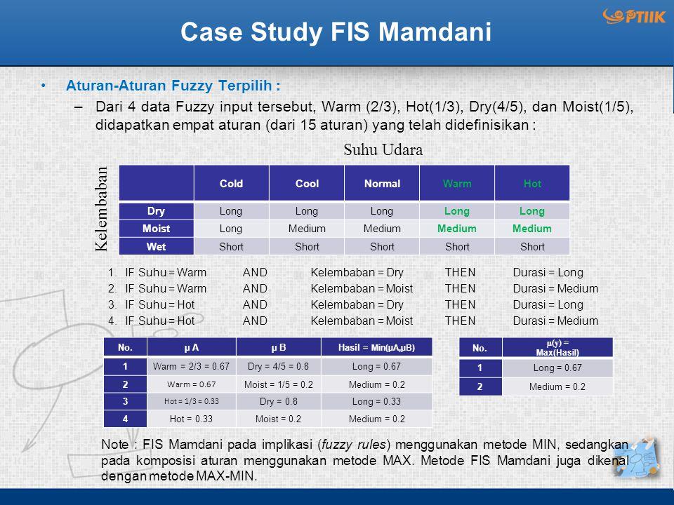 Case Study FIS Mamdani Aturan-Aturan Fuzzy Terpilih : –Dari 4 data Fuzzy input tersebut, Warm (2/3), Hot(1/3), Dry(4/5), dan Moist(1/5), didapatkan empat aturan (dari 15 aturan) yang telah didefinisikan : 1.IF Suhu = WarmAND Kelembaban = Dry THEN Durasi = Long 2.IF Suhu = WarmAND Kelembaban = MoistTHEN Durasi = Medium 3.IF Suhu = HotAND Kelembaban = Dry THEN Durasi = Long 4.IF Suhu = HotAND Kelembaban = MoistTHEN Durasi = Medium ColdCoolNormalWarmHot DryLong MoistLongMedium WetShort Kelembaban Suhu Udara No.µ Aµ BHasil = Min(µA,µB) 1Warm = 2/3 = 0.67Dry = 4/5 = 0.8Long = 0.67 2 Warm = 0.67 Moist = 1/5 = 0.2Medium = 0.2 3 Hot = 1/3 = 0.33 Dry = 0.8Long = 0.33 4Hot = 0.33Moist = 0.2Medium = 0.2 No.