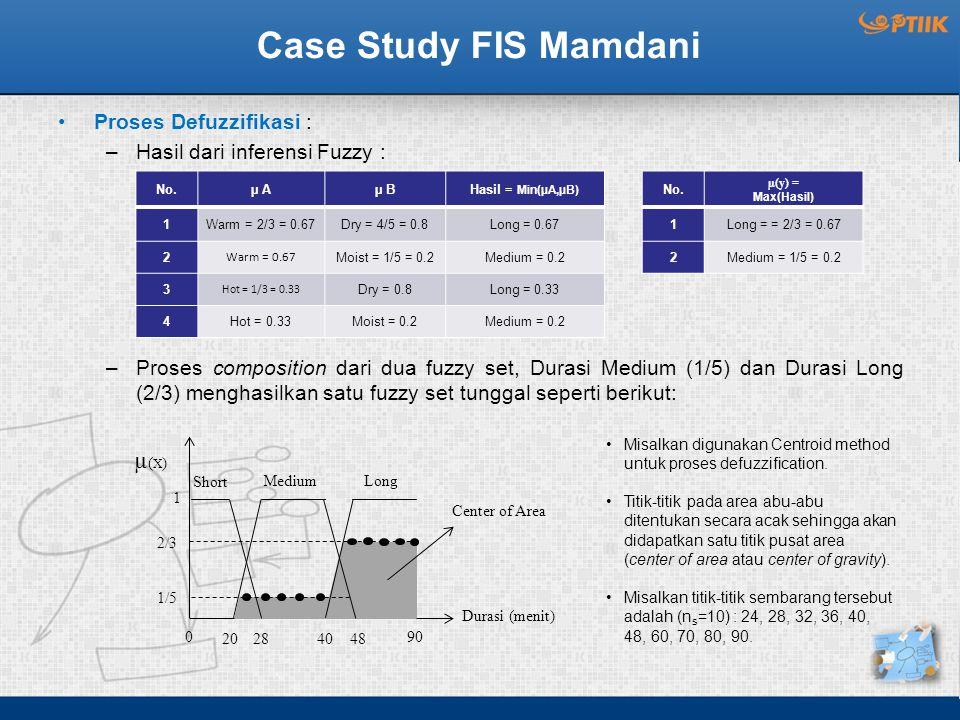 Case Study FIS Mamdani Proses Defuzzifikasi : –Hasil dari inferensi Fuzzy : –Proses composition dari dua fuzzy set, Durasi Medium (1/5) dan Durasi Long (2/3) menghasilkan satu fuzzy set tunggal seperti berikut: No.µ Aµ BHasil = Min(µA,µB) 1Warm = 2/3 = 0.67Dry = 4/5 = 0.8Long = 0.67 2 Warm = 0.67 Moist = 1/5 = 0.2Medium = 0.2 3 Hot = 1/3 = 0.33 Dry = 0.8Long = 0.33 4Hot = 0.33Moist = 0.2Medium = 0.2 No.