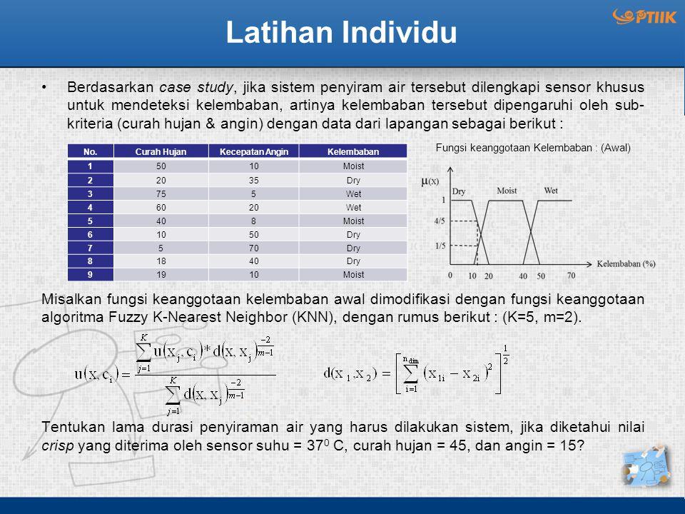 Latihan Individu Berdasarkan case study, jika sistem penyiram air tersebut dilengkapi sensor khusus untuk mendeteksi kelembaban, artinya kelembaban tersebut dipengaruhi oleh sub- kriteria (curah hujan & angin) dengan data dari lapangan sebagai berikut : Misalkan fungsi keanggotaan kelembaban awal dimodifikasi dengan fungsi keanggotaan algoritma Fuzzy K-Nearest Neighbor (KNN), dengan rumus berikut : (K=5, m=2).